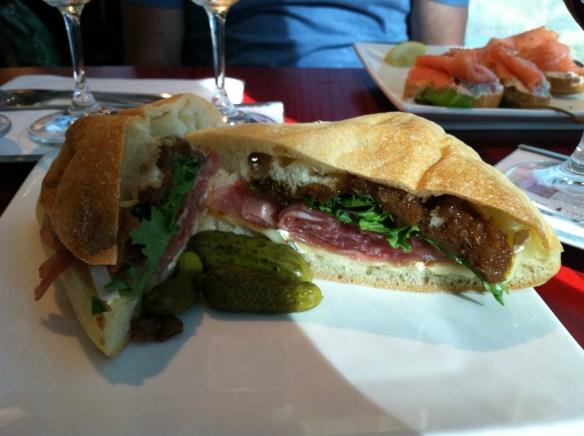 Brie prosciutto sandwich Vino Volo