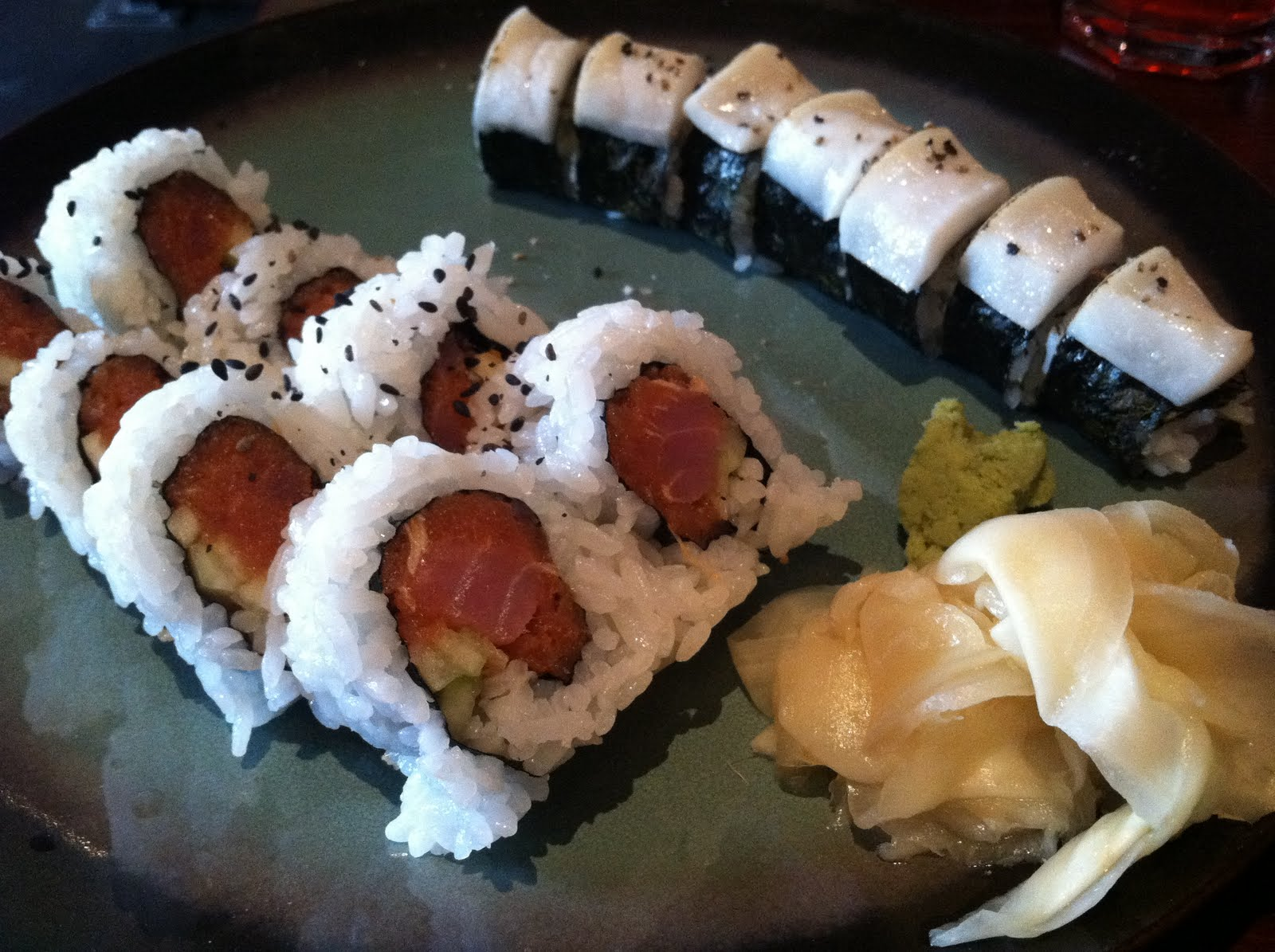tuna roll, cucumber, black sesame. Salt and pepper roll, grilled