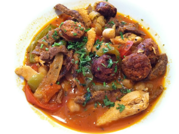 Beef chicken chorizo stew Esperpento