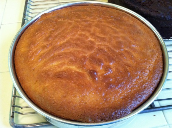 Cherpumple baked yellow cake