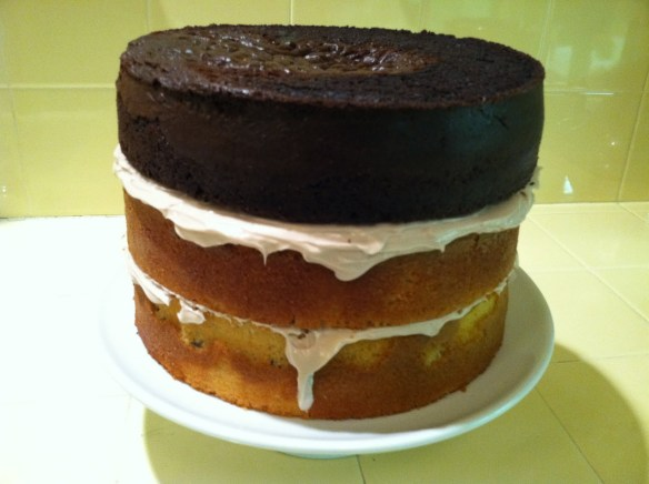 Cherpumple with all 3 stacked cake layers