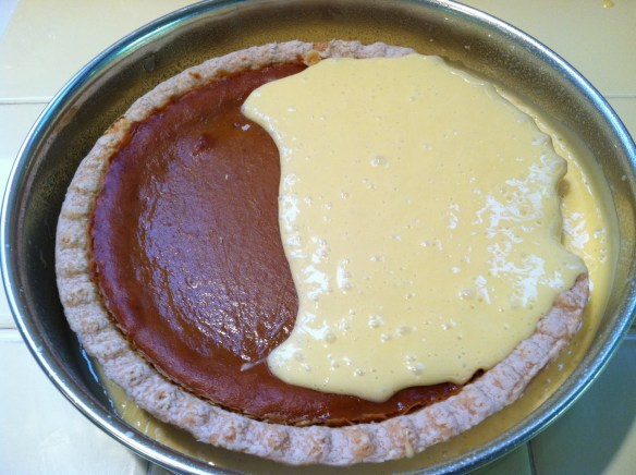 Cherpumple pumpkin pie in yellow batter