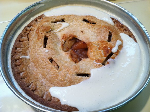 Cherpumple applie pie in white batter