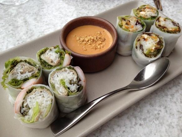 Slanted Door and Vegetarian spring rolls