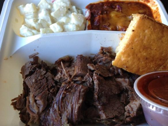 Beef brisket platter Smokin' Warehouse Barbecue