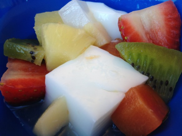 Almond jello with fruit