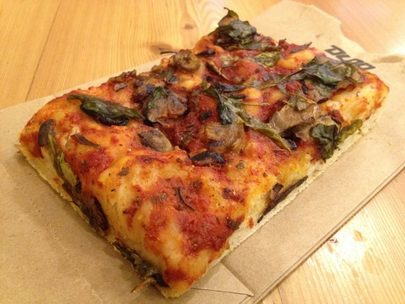 Mushroom and spinach focaccia Arizmendi Bakery