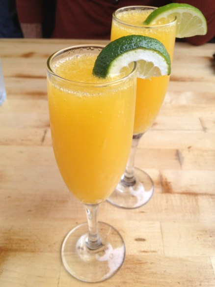 Orange-lime sparkling mimosas Criolla Kitchen