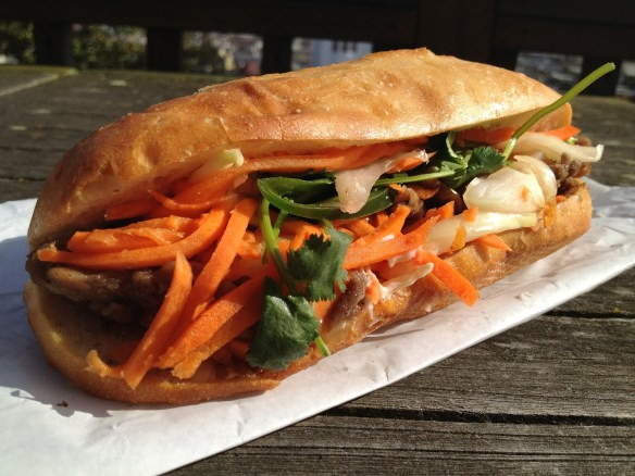 Roasted pork banh me Saigon Sandwich