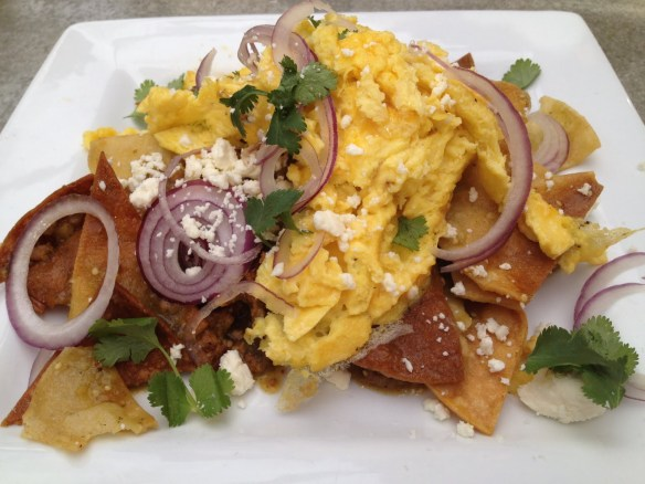 Chilaquiles with scrambled eggs Cheeky's
