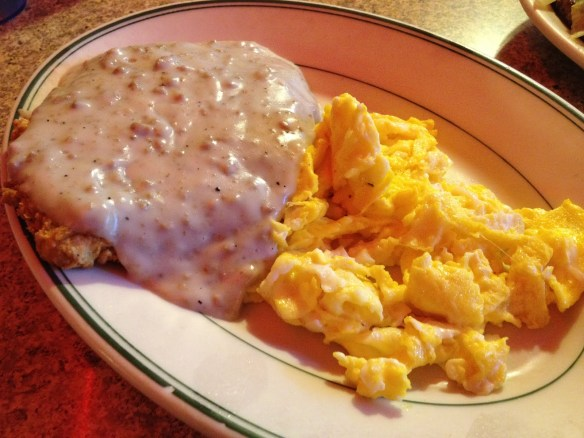 Chicken fried steak and eggs Orphan Andy's