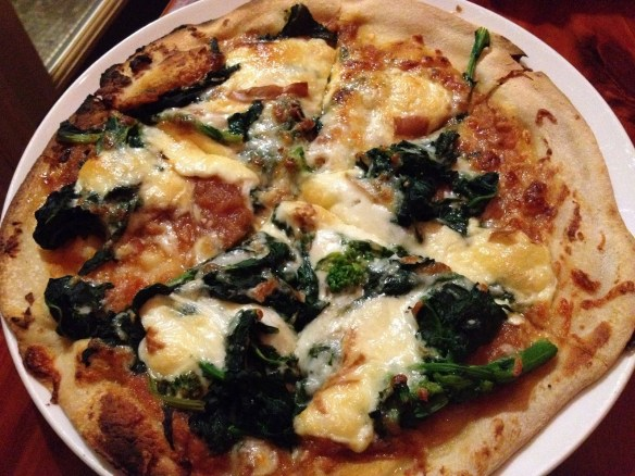 Roasted garlic and broccoli rabe pizza Uva Enoteca