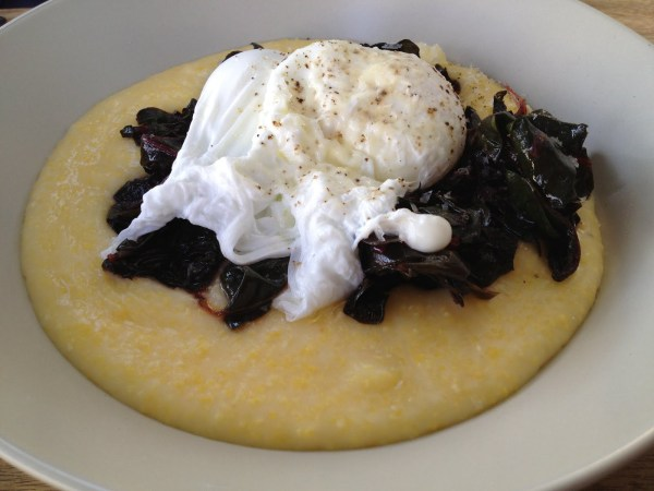 Poached eggs and braised greens Outerlands