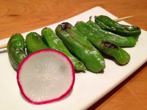 Shishito peppers robata Hecho